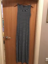 Lipsy Striped Maxi Dress Womens Navy Blue And White Summer Size 6 Jersey