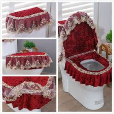 3Pcs/Set Bathroom Toilet Seat Cover Lace Velvet Tank Cover Lid Pads Washable New