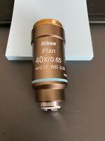 Nikon CFI Plan 40x 0.65 ∞/0.17 WD 0.56 Objective Nikon Verified!