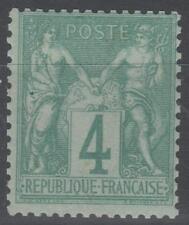 "FRANCE STAMP TIMBRE N° 63 "" TYPE SAGE 4 c VERT 1876 "" NEUF xx TTB SIGNE   N357"