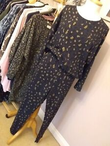 Co-ord Lounge Set Navy/gold knitted top/legging, Leopard print OneSize 12/18
