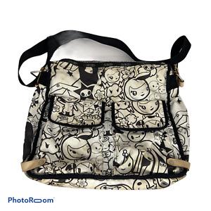 🍊 Tokidoki For LeSportsac Ciao-Ciao Black & White Large Messenger Zip Bag Purse