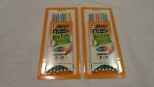 (2) Packs Of 8 Bic #2 Pencils Stripes Xtra-Fun Assorted Colors Break-Resistant