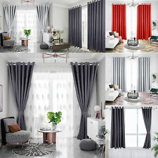 Pair Ready Made Thick Blackout Curtains Thermal Ring top Eyelet+ Free Tie Backs