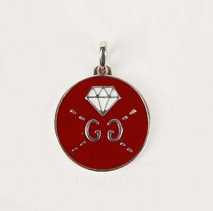 Gucci Red Enamel Round Silver Pendant Charm w/Diamond Motif 458048 8519