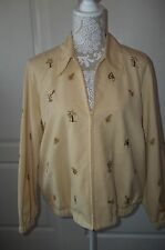 Alfred Dunner Petite Women's LS embroidered yellow Zip-up Jacket, Size 14p