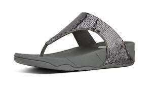 NEW FitFlop Electra Classic Womens Sz 9 Pewter Sequin Comfort Sandals Thong $130