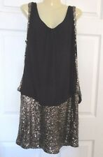 NWOT CITY CHIC Black with Gold Sequins Dress PLUS SIZE:Small - Blouson Top