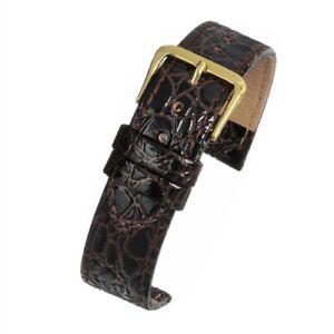 Mens 18mm brown croc grain watch strap watchband