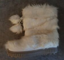 Womens Or Older Girls Next Winter White Faux Fur Yeti Pom Pom Snow Boots Size 4