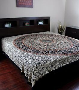 Jaipur Bagru Mandala Tapestry Tablecloth Throw Coverlet Bedspread Gorgeous Full