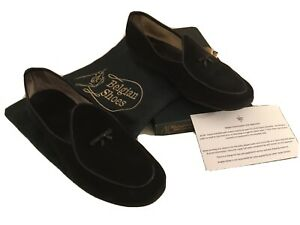 Belgian Shoes/ Loafers Black Suede/bow