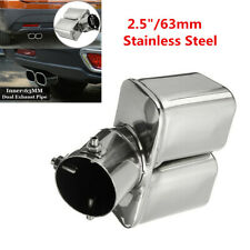 "2.5"" / 63mm Stainless steel Bent Car Dual Exhaust Tip Square Tail Pipe Muffler"