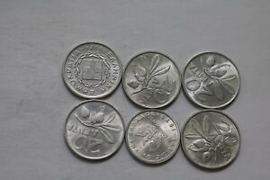 GREECE 6 ALUMINIUM COINS MOST IN HIGH GRADE A98 LLL32