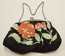 NEXT VINTAGE RETRO BLACK EMBROIDERED EVENING - DAY WEAR BAG FRONT & BACK LOVELY