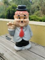 """VTG 1970's RARE MEXICAN OLIVER HARDY COIN BANK HARD PLASTIC 9 3/4"""" CLONE MEXICO"""
