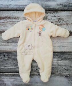 Unisex Babies R Us Cream Bear Fleece Pram Suit With Hood Age 0-3 Months