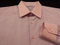 Stefano Ricci Mens sz 16.5 Long Sleeve Button-Front Multicolor Striped Shirt