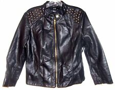 Sz Jrs L - Forever 21 Black Studded Polyurethane Jacket looks just like Leather!