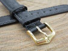 "Hirsch Duke Black Leather 16mm 5/8"" Mens Vintage Watch Band Water Resistant NOS"