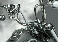 KRUZER KADDY SKULL CHROME FINISH BAR MOUNT FITS NEW HD MOTORCYCLE CUP HOLDER
