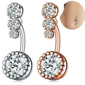 Crystal Navel Ring Bar Barbell Drop Body Piercing Surgical Belly Button Rings