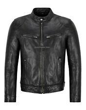 Chaqueta para hombre de cuero negro genuino cuero Slim Fit Chaqueta estilo ciclista Superior Vintage 3815