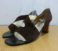 BNIB Russell & Bromley brown suede strappy heels open toe shoes US 7.5 UK 5.5