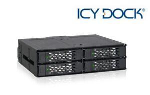 "New ICY Dock MB607SP-B 4 bay 2.5"" SATA SAS SSD HDD Hard Drive Mobile Rack"