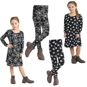 Girls Kids Halloween Costume Top Swing Dress Legging Spider Web Skull 5-13 Black