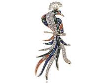 Palm Size Golden Abalone Shell Clear Crystal Rhinestone Phoenix Bird Pin Brooch