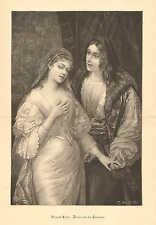Rafael & Fornarina, by Heinrich Lesler, Romance, 1894 German Antique Art Print