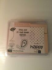 NIB Stampin Up Polka Dots & Paisley Unmounted stamp set flower/happy