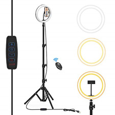 Ring Light with Tripod Stand & Phone Holder, 10.2 Inch Selfie Ring Light for LED