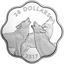 Canada 2017 Master Club Land Timber Wolf $20 Lotus Scalloped Silver Proof in OGP