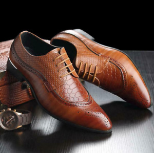 Mens Shoes Leather Oxfords Brogue Formal Business Weddings Dress Shoes Big Size