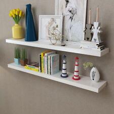vidaXL 2x Floating Shelf White Wall-Mount Display Storage Hanging Multi Sizes