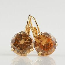 18k Gold GF orange Diamond simulant crystals drop brilliant earrings