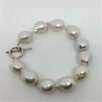 12-13mm white Baroque Pearl Bracelet Silver buckle 7.5 inch Chic Cultured Chain