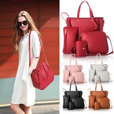4pcs Women PU Leather Handbag Shoulder Bags Tote Purse Satchel messenger set