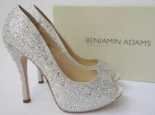 BENJAMIN ADAMS CHARLEY UK 9/EU 42 Crystal Bridal Wedding Peep-Toe Sandals Shoes
