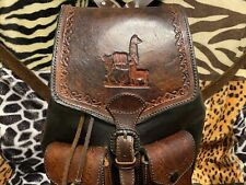 Leather Hand-Tooled Backpack with Llama Design and Pockets