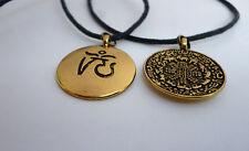 Om Aum Anhänger Kette am Band Buddha Hindu Mantra goldfarben Tibet Kalender