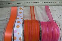 PINK & ORANGE Polyester Mix 16-26mm Wide 2 & 3 Metres 4 Design Style Choice