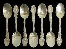 "7 GORHAM VERSAILLES STERLING SILVER 5"" GOLD WASH SHELL BOWL ICE CREAM SPOONS"