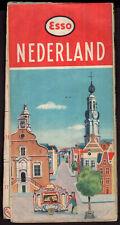 ESSO OIL VINTAGE ROAD MAP Ca. 1950 NETHERLANDS