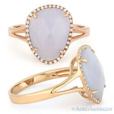 Right-Hand Ring 14k Rose Gold 2.99ct Checkerboard Chalcedony Round Diamond Halo