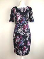 L K Bennett Debra Dress Size 12 Floral Lined Stretch Preppy Work Occasion