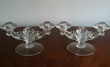 FOSTORIA MAYFLOWER? Glass  Double CANDLE HOLDERS Candelabra Depression Vintage