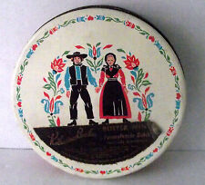Amish Tin PA Dutch Couple Container Katherine Beecher Mints Vintage Metal Round